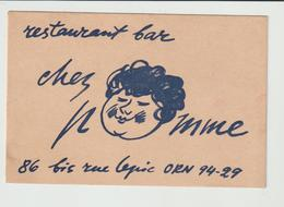 "CARTE DE VISITE RESTAURANT BAR ""CHEZ POMME"" RUE LEPIC / PARIS - Cartoncini Da Visita"