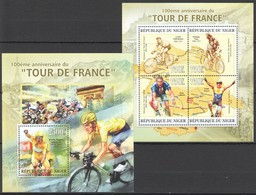 UU083 2013 NIGER SPORT BIKE 100TH ANNIVERSARY TOUR DE FRANCE KB+BL MNH - Cycling