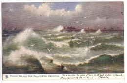 FAL 49  OLD POSTCARD, FINE ART , PAINTINGS , Rough Sea And A New Palace Pier , Signed - Schilderijen