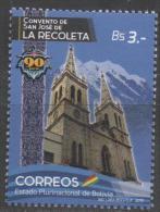 BOLIVIA, 2015, MNH, CONVENT OF SAN JOSE DE RECOLETA, RELIGION, CHURCHES, MOUNTAINS, 1v - Abbeys & Monasteries