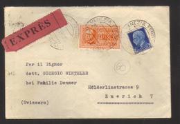 8955- Da Venezia Per Zurigo 29/10/1939 – Espresso Per L'estero – Sul Retro Timbro Ambulante E Timbro Di Arrivo - 1900-44 Vittorio Emanuele III