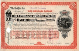 Titre De Bourse Made In USA - The Cincinnati, Washington And Baltimore Railroad Co.Titre De 100 Actions De 100$ Chacune. - Railway & Tramway
