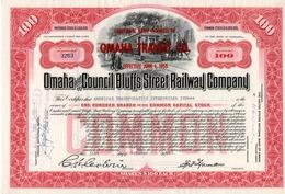 Titre De Bourse Made In USA - Omaha And Council Bluffs Street Railway Co.Titre De 100 Actions - Nebraska 1953 - Annulé - Chemin De Fer & Tramway