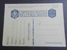 20022) CARTOLINA POSTALE PER LE FORZE ARMATE IN FRANCHIGIA NUOVA L'AVVENIRE E' NOSTRO .... - 1900-44 Victor Emmanuel III