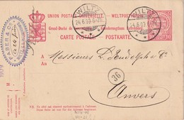 LUXEMBOURG 1909      ENTIER POSTAL  /GANZSACHE/POSTAL STATIONERY  CARTE DE WILTZ POUR ANVERS - Stamped Stationery