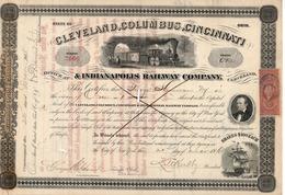 Titre De Bourse Made In USA - CLEVELAND, COLOMBUS,CINCINNATI & ANDIANAPOLIS RAILWAY COMPANY - 1868 -  Annulé - Railway & Tramway
