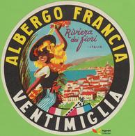 Voyo ALBERGO FRANCIA Ventimiglia Italy Hotel Label  Early Printing  Vintage - Hotel Labels