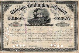 Titre De Bourse Made In USA - Chicago, Burlington And Quincy Railroad Co. Titre De 10 Actions De 100$ Chacune - Illinois - Chemin De Fer & Tramway