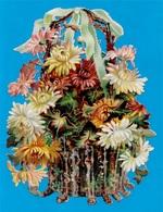 Beau (belle) CHROMO Découpi Fin XIXe Fleurs En Pot * Flowers - Fleurs