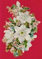 Grand (grande) CHROMO Gaufré Découpi Fin XIXe Fleurs * Flowers Embossed - Fleurs