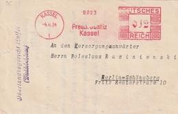"""Deutsches Reich / 1934 / Freistempel Kassel """"Preuss. Justiz"""" Auf Brief, Rs. Vignette """"Preuss. Oberlandesgericht"""" (3466) - Affrancature Meccaniche Rosse (EMA)"""