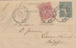 APREMONT à REIMS 10 2 1906, Carte-lettre Semeuse Lignée 15c + 10c  Pour La Belgique, - Poste Ferroviaire