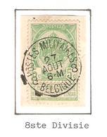REF142/ TP 53 S/Fragment C.Postes Militraires 8 Belgique 27/Août/ 6-M - 1893-1907 Armoiries