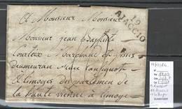 France - Lettre AJaccio Pour Limoges (1814 )   - Marque Linéaire - 19 Ajaccio - Période De L'exil A L' Ile D'Elbe - Postmark Collection (Covers)