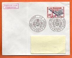 MAURY N° 1220  LES DONNEURS DE SANG ( Cachet Concordant ) 1959 PARIS Lettre Entière N° LM 66 - 1921-1960: Modern Tijdperk