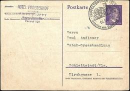 T.D. Rappoltsweiler (Els.) Ribeauvillé 04.2.42 Illustré Entête : Hôtel Vogesenhof Prop. F. Ritz Stuppy -  Entier - Postmark Collection (Covers)