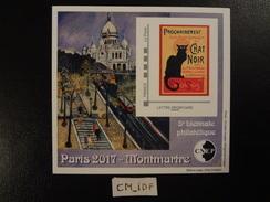"""FRANCE 2017 BLOC CNEP PARIS 2017 MONTMARTRE 5 ème BIENNALE PHILATELIQUE Lettre Prioritaire """" CHAT NOIR """" - CNEP"""