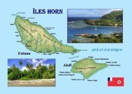 Wallis And Futuna Hoorne Islands Map New Postcard Iles Horn - Wallis Y Futuna