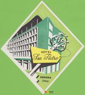 Voyo HOTEL SAN PIETRO Verona Italy  Hotel Label Early Printing Vintage - Hotel Labels