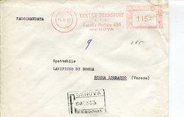 Italia (1963) - Raccomandata Da Genova - Affrancature Meccaniche Rosse (EMA)