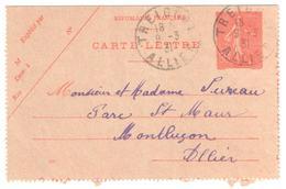 TREIGNAT Allier Carte Lettre Entier 50c Semeuse Lignée Rouge  Yv 199-CL3 Storch D2 Ob 9 3 1931 - Cachets Manuels