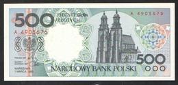POLAND  500 ZL  1990 UNC - Pologne
