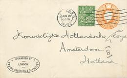 Ganzsache Perfin [BB] Baring Brothers & Co Ltd [Bankgeschäfte Bis 1995] An Lloyd Amsterdam - 1902-1951 (Kings)