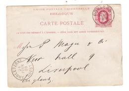 REF148/ Entier CP 18 C.Roulers 21 FEVR 5 M 1880 > Liverpool Marque D'entrée Angleterre Ouest 2 21 FEVR 80  Aminci-dun - Enteros Postales