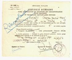 JOIGNY Yonne Poste Restante Certificat N° 598 Bis Autorisation Réception Correspondances RENOUVELLEMENT 10 4 1958 - Marcofilie (Brieven)