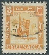 1950 CIRENAICA AMMINISTRAZIONE AUTONOMA USATO CAVALIERE SENUSSITA 3 M - RB44 - Cirenaica