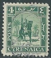 1950 CIRENAICA AMMINISTRAZIONE AUTONOMA USATO CAVALIERE SENUSSITA 4 M - RB44-3 - Cirenaica