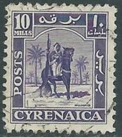 1950 CIRENAICA AMMINISTRAZIONE AUTONOMA USATO CAVALIERE SENUSSITA 10 M - RB44 - Cirenaica