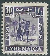 1950 CIRENAICA AMMINISTRAZIONE AUTONOMA USATO CAVALIERE SENUSSITA 10 M - RB44-2 - Cirenaica