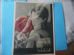 PUBLICITE   -   CIGARETTES PRIMEROSE - BOUT PETALE DE ROSE - REGIE FRANCAISE - Advertising