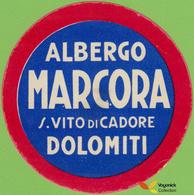 Voyo  ALBERGO MARCORA S.Vito Di Cadore Dolomiti  Italy Hotel Label 1960s Vintage - Etiquettes D'hotels