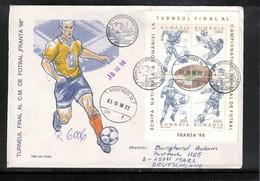 Romania 1998 World Football Cup France Block Interesting Registered Letter - Copa Mundial