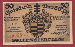 Allemagne 1 Notgeld 50 Pfenning Stadt Ballenstedt  Dans L 'état N °5399 - [ 3] 1918-1933 : República De Weimar