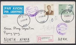 Roi Albert II (n°2559) + Roi Baudouin (2236) Sur Lettre En R Expédié Par Avion De Lierneux Vers North Korea (Pyong Yong) - Belgien