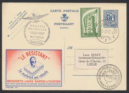 """Publibel N°1117 """"Le Résistant - Matelas"""" Expédié Par Avion SABENA (Brussel - Bucuresti 1957), Retour à Liège. - Enteros Postales"""