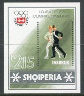 ALBANIA 1976 Winter Olympics Block MNH / **.  Michel Block 59 - Albanie