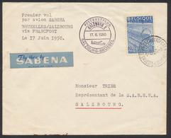 """Exportation - N°771 Sur Lettre Par Avion """"Premier Vol SABENA Bruxelles - Salzbourg"""" (17 Juin 1950) + étiquette SABENA - 1948 Export"""