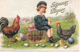 Boy, Junge, Garçon, Rooster, Coq, Hahn, Chicken, Poulet,  Easter Egg, Osterei,oeuf De Pâques / Embossed / Gaufré - Pâques