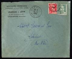 Uckange Moselle 16.11.1948 Entête : Nouveautés, Confections,Chemise....Maison I.Lévy Judaïca - Postmark Collection (Covers)