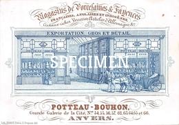 Porceleinkaart  -  Magasins De Porcelaines & Fayences  - Potteau - Bouhon - Anvers - Antwerpen - 13x9 Cm - Antwerpen