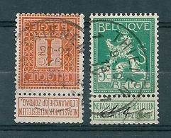 108 + 110 Gestempeld  THIENEN - TIRLEMONT 1 - COBA 4 Euro - 1912 Pellens