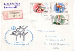 GErmany 1987 Registered Cover: Sport Gymnastics: Youth Spartakiade; Table Tennis; Bowling Athleticss; - Stamps
