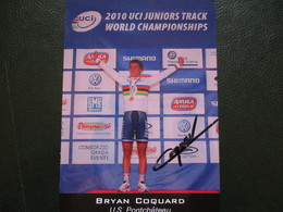 Cyclisme Photo Signee Bryan Coquard Champion Du Monde - Cyclisme
