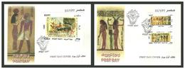 Egypt - 2001 - Both FDC's - Set & S/S - ( Post Day - Egyptian Art - Egyptology ) - Cartas