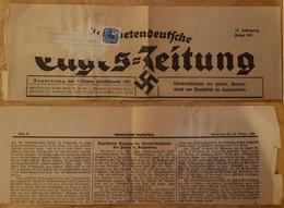Sudetendeutsche Tageszeitung 13.10.38 Titelseite Ausschnitt 'Generaloberst Von Brauchitsch', Tagesstempel 14.10.38 - Besetzungen 1938-45