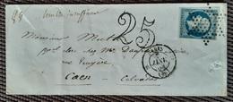 N°10 Sur Lettre De Janv 53 De Paris Pour Caen Taxée 25c(timbre Insuffisant) - 1849-1876: Classic Period